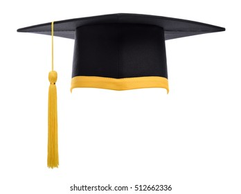 Graduation cap with gold tassel isolated on white background.