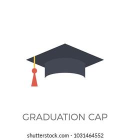 Graduation Cap Icon . Isolated on White Background. Trendy Flat Style.