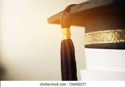 Graduation cap on Books step in Library room of campus and university, Concept of abroad international Educational, Back to School
