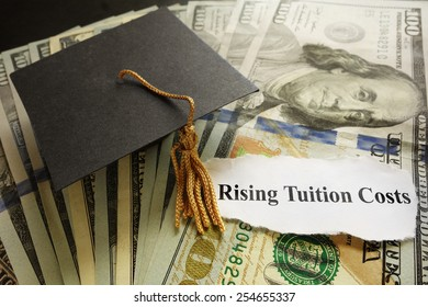 Graduation cap on cash with Rising Tuition Costs newspaper headline