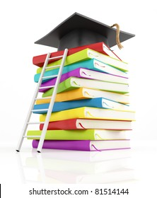 graduation cap on the top of stack of books with white ladder -rendering