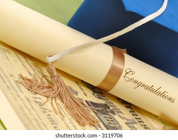 Graduation concept with  diploma and hat