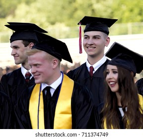 Graduation Day at South Western High School in Hanover, Pennsylvania.  June 2017. High school students standing in line waiting to receive their diplomas