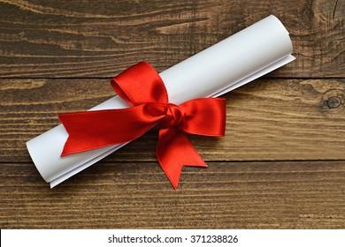 Graduation diploma scroll