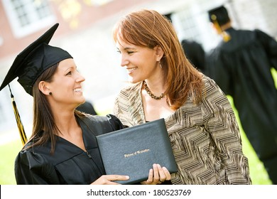 Graduation: Girl And Mother After Ceremony