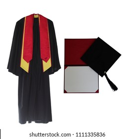 Graduation Gown, cap and diploma isolated on white background