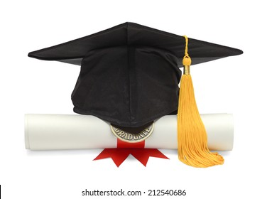 Graduation Hat And Diploma Front View Isolated On White Background