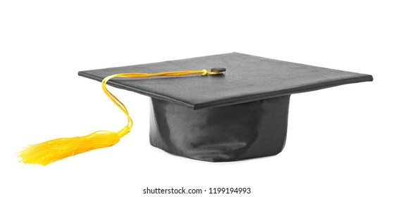 Graduation hat with gold tassel isolated on white
