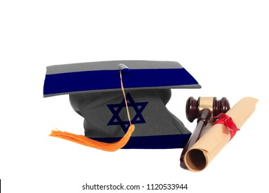Graduation Hat with Israel flag with Diploma and Judge Gavel Isolated on White Background