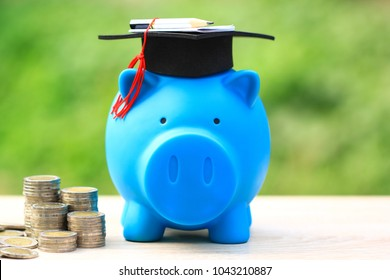 Graduation hat on piggy and stack of coins money on natural green background, Saving money for education concept