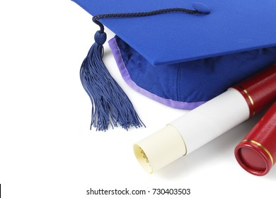 Graduation Mortar Board and Scroll Holder on White Background