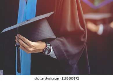 graduation,Student hold hats in hand during commencement success graduates of the university,Concept education congratulation.Graduation Ceremony,Congratulate the graduates in University. soft focus
