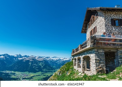 GRAEN, AUSTRIA - 28 April, 2017: Alpine Hut Bad Kissinger Huette on the Aggenstein Mountain near Graen, Austria