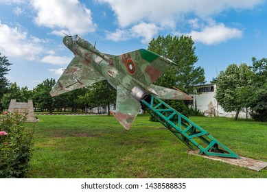 GRAF IGNATIEVO, BULGARIA - JUNE 29 2019: Mig 21 plane in museum of aviation in Graf Ignatievo airport, Bulgaria
