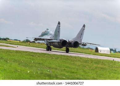 GRAF IGNATIEVO, BULGARIA - JUNE 29 2019: Russian fighter Mikoyan Gurevich MiG 29 heat up engines before flight