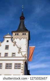 Grafeneckart in Wurzburg and blue sky. Wurzburg, Bavaria, Germany.
