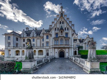 Grafenegg, Lower Austria/Austria - Jan 11, 2020: the Grafenegg castle with its neatly cut park bushes on a beautiful sunny day. It holds a yearly classical music festival attracting many tourists