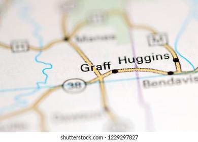Graff. Missouri. USA on a geography map