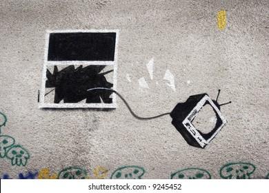 graffiti by the famous street artist Banksy