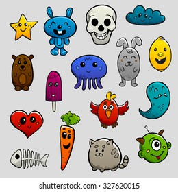 Graffiti cartoon characters abstract animals and fruits flat bright color icon set isolated  illustration