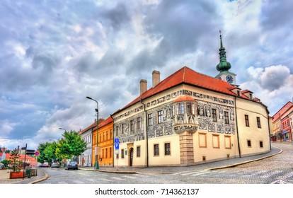 Graffiti decorated house in Trebic - Moravia, Czech Republic