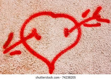 Graffiti heart. Kid mural