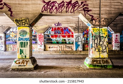 Graffiti inside Krog Street Tunnel in Atlanta, Georgia.