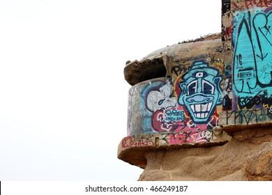 graffiti on mountain