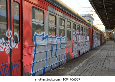 graffiti on the train vandalism street art