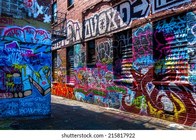 Graffiti on walls in Graffiti Alley, Baltimore, Maryland.