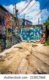 Graffiti on walls in an alley in Little Five Points, Atlanta, Georgia.