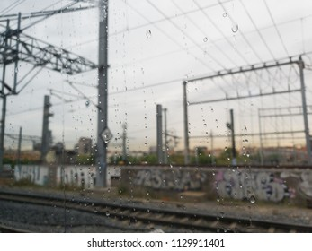 graffiti and railroad tracks in neighborhoods near the center of madrid