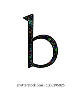Graffiti style splattered paint letter B (lowercase) in a 3D illustration with a black and colorful painted effect antique bookletter font isolated on a white background with clipping path.