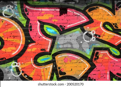 Graffiti, walls are painted colors, background, street culture