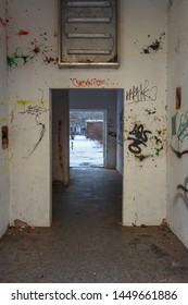 Graffitti in the entrance of a abandoned building