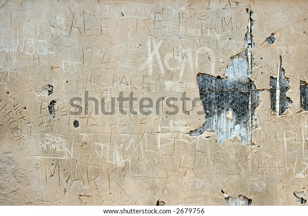 graffitti on ruins of walls