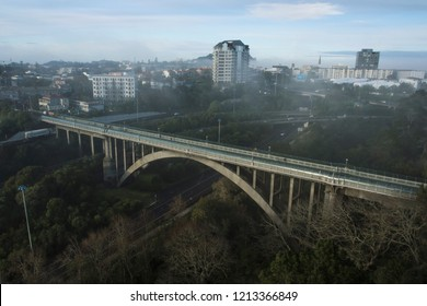 Grafton, Auckland - 2018 August 30: Aerial view of Grafton Bridge on misty morning