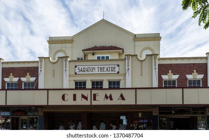 GRAFTON, AUSTRALIA – April 9, 2019: Facade of the Saraton Theatre, a heritage listed Art Deco building built in 1926 in the country town of Grafton, northern New South Wales, Australia