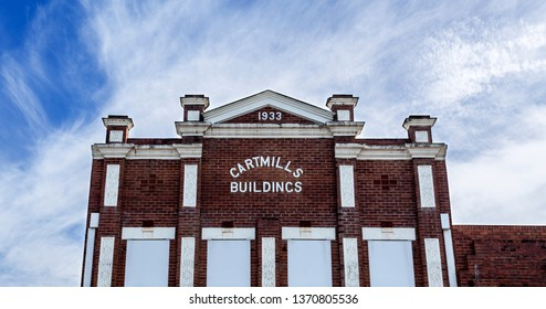 GRAFTON, AUSTRALIA – April 9, 2019: Facade of a heritage building with classical architectural elements built in 1933 in the country town of Grafton, New South Wales, Australia