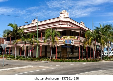 GRAFTON, AUSTRALIA – April 9, 2019: Facade of a heritage building, built in 1909 as a hotel with an ornamental balcony in the country town of Grafton, New South Wales, Australia