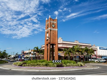 GRAFTON, AUSTRALIA – April 9, 2019: View of the Clock Tower, erected in 1909 to commemorate fr Jubilee of the Incorporation of the City of Grafton, New South Wales, Australia