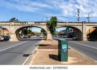 GRAFTON, AUSTRALIA – April 9, 2019: View of the superb railway viaduct crossing Prince Street in central Grafton, a town in northern New South Wales, Australia
