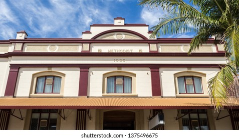 GRAFTON, AUSTRALIA – April 9, 2019: Detail of the facade of the heritage building of the Methodist Church, built in 1923 on Prince Street in central Grafton, a town in northern New South Wales