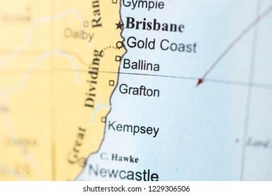 Grafton. Australia on a geography map