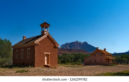 Grafton Ghost Town with Zion in the distance, Utah, USA