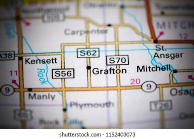 Grafton. Iowa. USA on a map