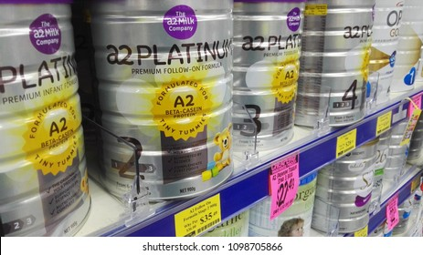 Grafton, NSW, Australia, May 24th 2018, Baby milk formula tins for sale