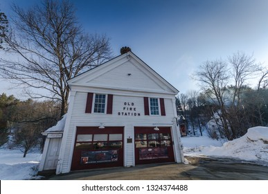 Grafton, NY / USA - 03-06-2015: In 1938 the old school house on Main Street in Grafton, Vermont was converted into a firehouse and remained in use until 1992.