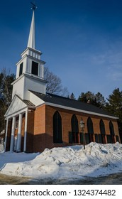 Grafton, NY / USA - 03-06-2015: The Grafton Congregational Church, known locally as The Brick Church, is a historic church on Main Street in Grafton, Vermont. Built in 1833, it is a fine local example