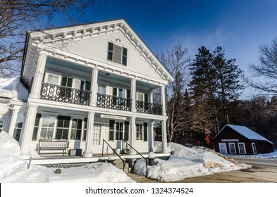 Grafton, NY / USA - 03-06-2015: Established in 1874, Grafton Public Library is housed in the Greek Revival Butterfield House, an elegant early 19th-century house with later styling, that is listed on